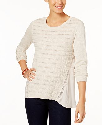 Style & Co Petite Cotton Pointelle-Knit High-Low Sweater, Created ...