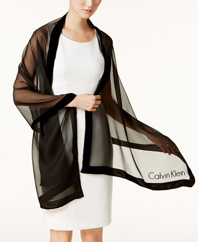 Calvin Klein Velvet-Border Evening Wrap