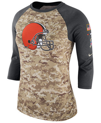 02e4d2e09c2 ... Nike Womens Cleveland Browns Salute To Service Three-Quarter Raglan T- Shirt - Sports ...