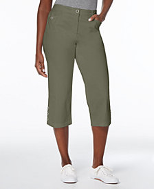 Karen Scott Button-Cuff Capri Pants, Created for Macy's