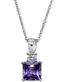 Giani Bernini Cubic Zirconia Square Pendant Necklace in Sterling Silver, Created for Macy's
