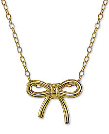 Giani Bernini Bow Pendant Necklace in 18k Gold-Plated Sterling Silver, Created for Macy's