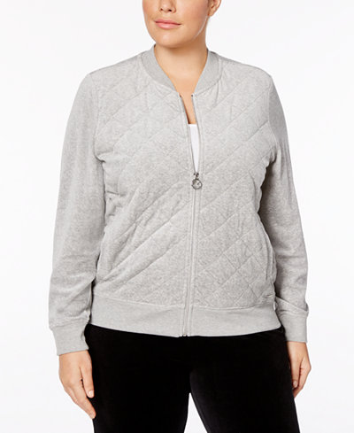 Calvin Klein Plus Size Velour Quilted Bomber Jacket