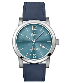 Lacoste Men's Metro Blue Suede Leather Strap Watch 42mm