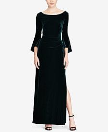 Lauren Ralph Lauren Velvet Ruffle-Sleeve Gown