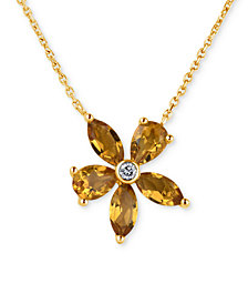 Citrine (2 ct. t.w.) & Diamond Accent Pendant Necklace in 14k Gold