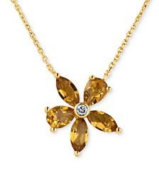 Citrine (2 ct. t.w.) & Diamond Accent Pendant Necklace in 14k Gold