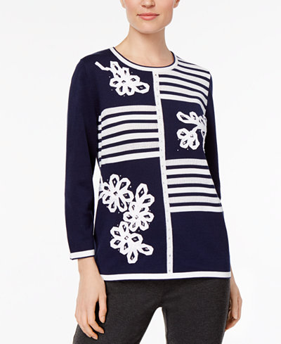 Alfred Dunner Montego Bay Petite Embellished Printed Sweater