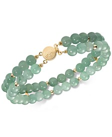 Dyed Jade  Bead Double Row Bracelet in 14k Gold