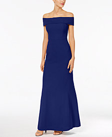 Calvin Klein Foldover Off-The-Shoulder Gown
