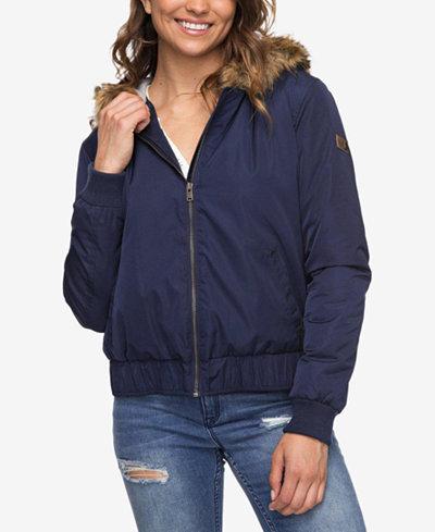 Roxy Juniors' Faux-Fur-Trim Waterproof Jacket