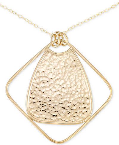 SIS by Simone I. Smith Long Hammered Pendant Necklace in 14k Gold over Sterling Silver