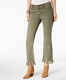 I.N.C. Curvy Fit Fringe-Trim Ankle Jeans, Created for Macy's