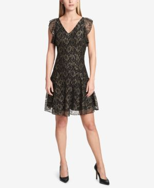 Tommy Hilfiger Metallic-Lace Fit & Flare Dress thumbnail