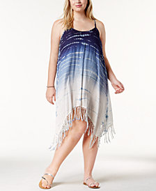 Raviya Plus Size Tie-Dyed Fringed Cover-Up Dress