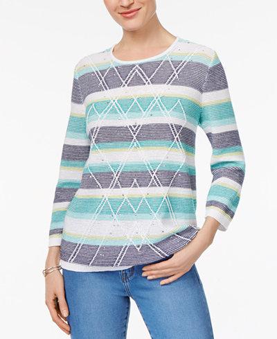 Alfred Dunner Montego Bay Petite Embellished Diamond-Stitch Sweater