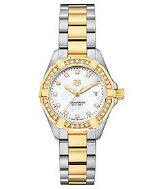 TAG Heuer Women's Swiss Aquaracer Diamond (1/2 ct. t.w.) Stainless Steel and 18k Gold Bracelet Watch 27mm