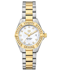 TAG Heuer Women's Swiss Aquaracer Diamond (1/2 ct. t.w.) Stainless Steel and 18k Gold Bracelet Watch 27mm