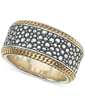 Esquire Men s Jewelry Two Tone Textured Band in Sterling Silver