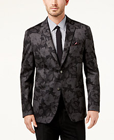 Tallia Men's Slim-Fit Black/Gray Floral-Print Soft Sport Coat