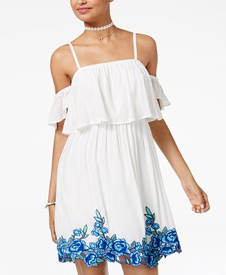 As U Wish Juniors' Cold-Shoulder Fit & Flare Dress