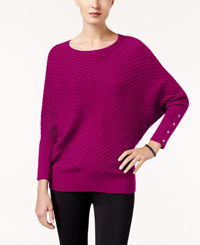 Alfani Petite Ribbed Dolman-Sleeve Sweater, Created for Macy's