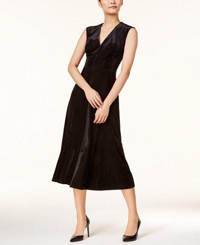 Anne Klein Shadow-Striped Fit & Flare Dress