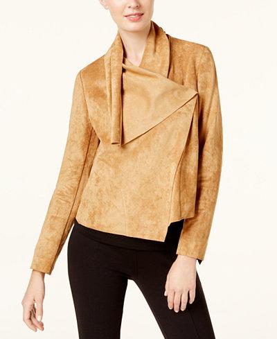 Anne Klein Asymmetrical Faux-Suede Jacket