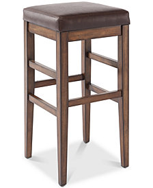 "Sonata 26"" Counter Height Wood Backless Barstool in Chestnut Finish and Kahlua Faux Leather"