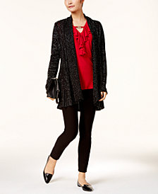 NY Collection Textured Metallic Cardigan, Ruffled Hardware Top & ECI Straight-Leg Pants