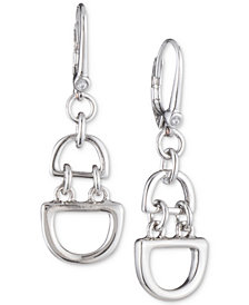 "DKNY Medium Silver-Tone D-Link Chain Drop Earrings, 1"", Created for Macy's"