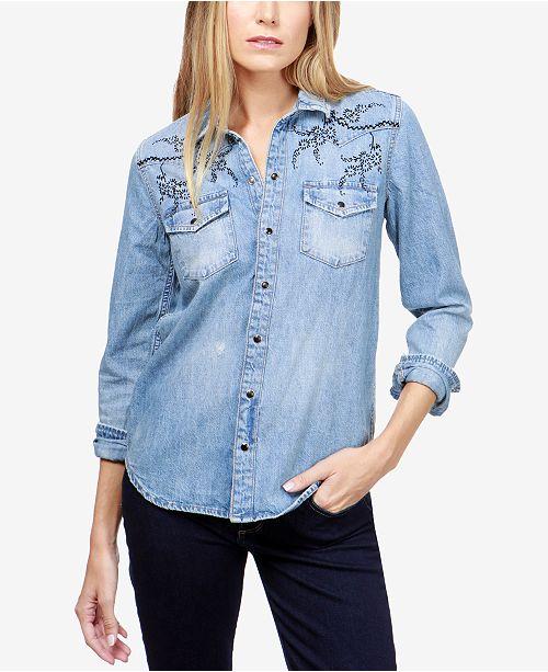 8492ef229093 ... Cotton Denim Western Shirt Tops Women Macy s Lucky Brand Cotton Denim Western  Shirt 19 reviews main image Source · Lucky Brand Men Short Sleeve Santa Fe  ...