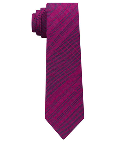 Calvin Klein Men's Plaid Slim Silk Tie