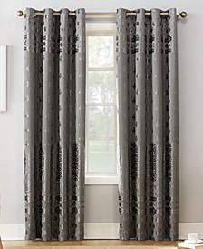 "Elidah Textured Velvet Medallion 50"" x 84"" Energy-Efficient Blackout Grommet Curtain Panel"