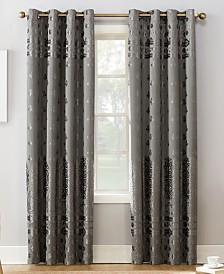 "Sun Zero Elidah Textured Velvet Medallion 50"" x 95"" Energy-Efficient Blackout Grommet Curtain Panel"