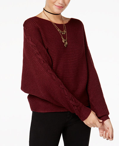 American Rag Juniors' Metallic Lace-Up-Sleeve Sweater, Created for ...