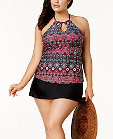 Island Escape Plus Size Monaco Flame High-Neck Underwire Tankini Top & Tummy-Control Swim Skirt, Created for Macy's