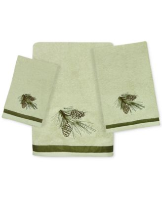 Pinecone Silhouettes Cotton Embroidered Bath Towel