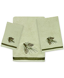 Bacova Pinecone Silhouettes Cotton Embroidered Bath Towel