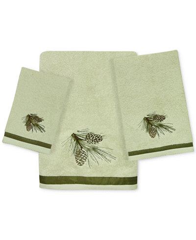 Bacova Pinecone Silhouettes Cotton Embroidered Bath Towel