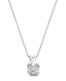 Diamond Solitaire Pendant Necklace (1/2 ct. t.w.) in 14k White Gold