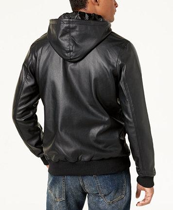 LRG Men's Faux-Leather Hooded Bomber Jacket - Coats & Jackets ...