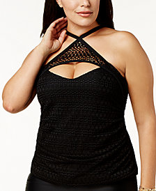 Island Escape Plus Size Lost At Sea Crochet High-Neck Underwire Tankini Top