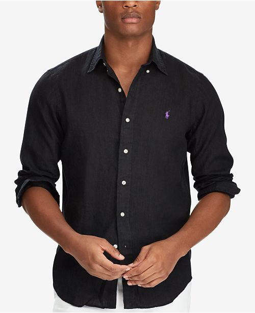 ac24f85bf682 Polo Ralph Lauren Men's Classic-Fit Linen Shirt & Reviews - Casual ...