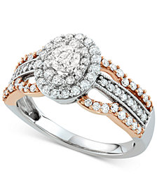 Diamond Two-Tone Halo Ring (1 ct. t.w.) in 14k White & Rose Gold