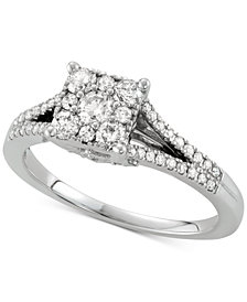 Diamond Square Halo Engagement Ring (5/8 ct. t.w.) in 14k White Gold