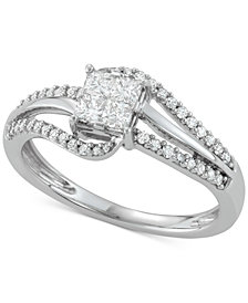 Diamond Princess Swirl Engagement Ring (1/2 ct. t.w.) in 14k White Gold