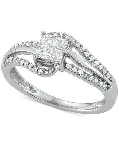 Diamond Princess Swirl Engagement Ring (1/2 ct. t.w.) in 14k White Gold