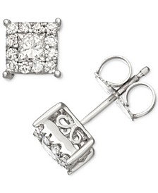 Diamond Square Halo Stud Earrings (1/2 ct. t.w.) in 14k White Gold