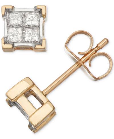 Diamond Quad Cluster Earrings (1/3 ct. t.w.) in 14k Gold